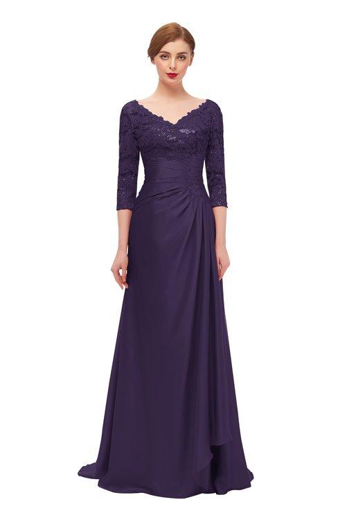 ColsBM Tatum Violet Bridesmaid Dresses Luxury Zipper Three-fourths Length Sleeve Brush Train Lace V-neck