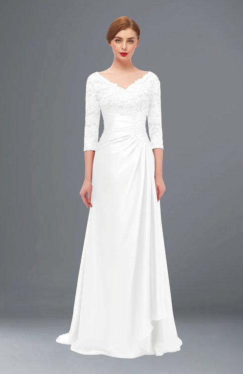 ColsBM Tatum White Bridesmaid Dresses Luxury Zipper Three-fourths Length Sleeve Brush Train Lace V-neck