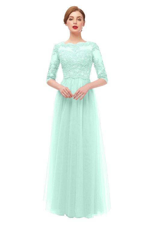 ColsBM Billie Aqua Bridesmaid Dresses Scalloped Edge Ruching Zip up Half Length Sleeve Mature A-line