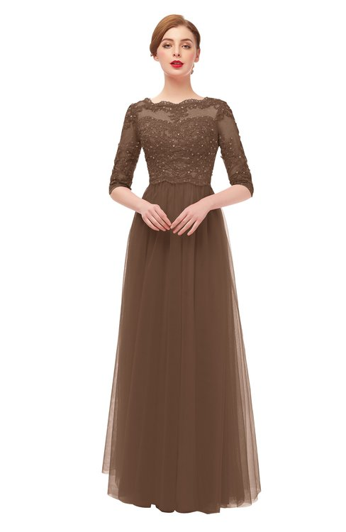 ColsBM Billie Aztec Brown Bridesmaid Dresses Scalloped Edge Ruching Zip up Half Length Sleeve Mature A-line