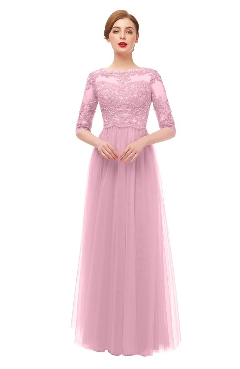 ColsBM Billie Baby Pink Bridesmaid Dresses Scalloped Edge Ruching Zip up Half Length Sleeve Mature A-line