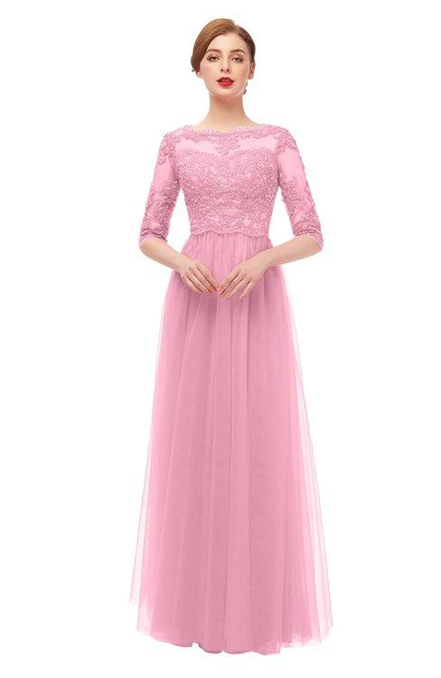 ColsBM Billie Begonia Pink Bridesmaid Dresses Scalloped Edge Ruching Zip up Half Length Sleeve Mature A-line