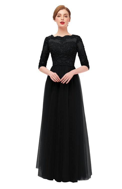 ColsBM Billie Black Bridesmaid Dresses Scalloped Edge Ruching Zip up Half Length Sleeve Mature A-line