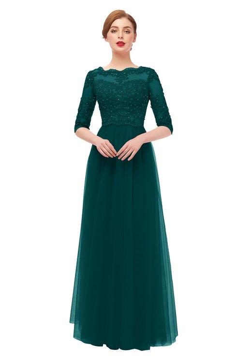 ColsBM Billie Blue Green Bridesmaid Dresses Scalloped Edge Ruching Zip up Half Length Sleeve Mature A-line