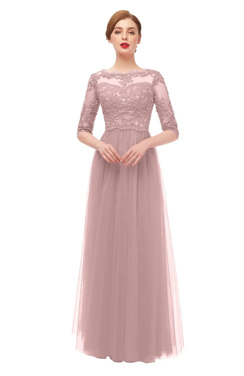 ColsBM Billie Blush Pink Bridesmaid Dresses Scalloped Edge Ruching Zip up Half Length Sleeve Mature A-line