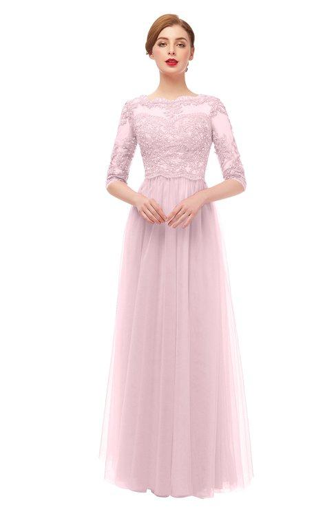 ColsBM Billie Blush Bridesmaid Dresses Scalloped Edge Ruching Zip up Half Length Sleeve Mature A-line