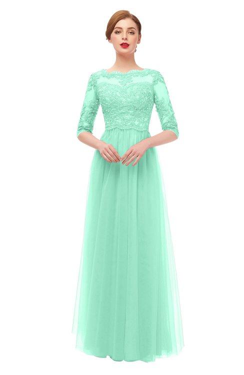 ColsBM Billie Brook Green Bridesmaid Dresses Scalloped Edge Ruching Zip up Half Length Sleeve Mature A-line