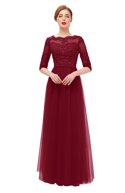 ColsBM Billie Burgundy Bridesmaid Dresses Scalloped Edge Ruching Zip up Half Length Sleeve Mature A-line