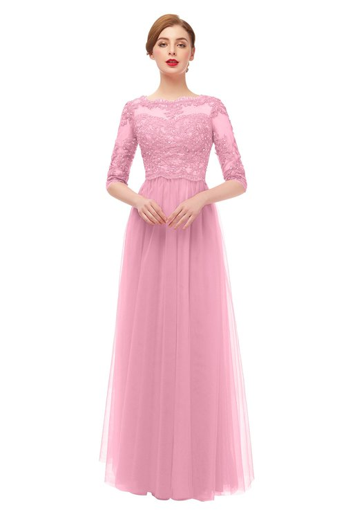 ColsBM Billie Carnation Pink Bridesmaid Dresses Scalloped Edge Ruching Zip up Half Length Sleeve Mature A-line