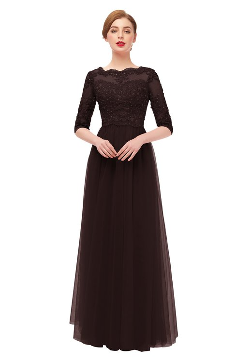 ColsBM Billie Chocolate Brown Bridesmaid Dresses Scalloped Edge Ruching Zip up Half Length Sleeve Mature A-line