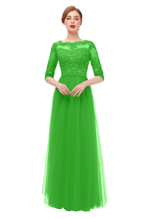 ColsBM Billie Classic Green Bridesmaid Dresses Scalloped Edge Ruching Zip up Half Length Sleeve Mature A-line