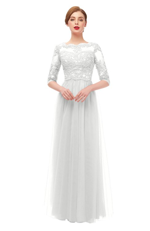 ColsBM Billie Cloud White Bridesmaid Dresses Scalloped Edge Ruching Zip up Half Length Sleeve Mature A-line