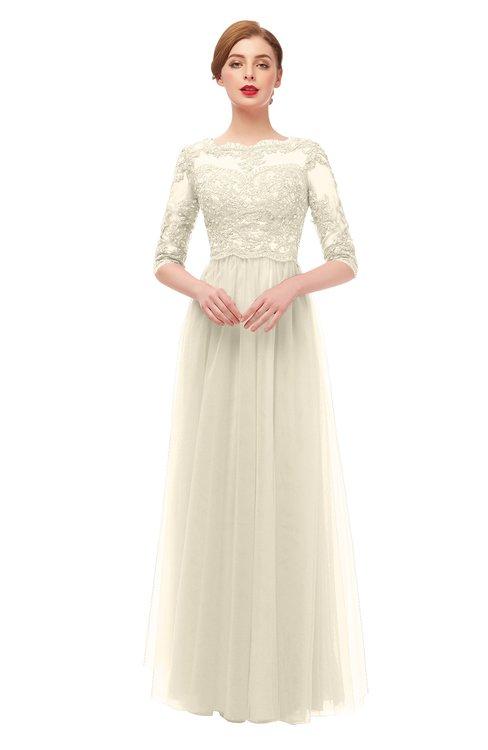ColsBM Billie Cornhusk Bridesmaid Dresses Scalloped Edge Ruching Zip up Half Length Sleeve Mature A-line