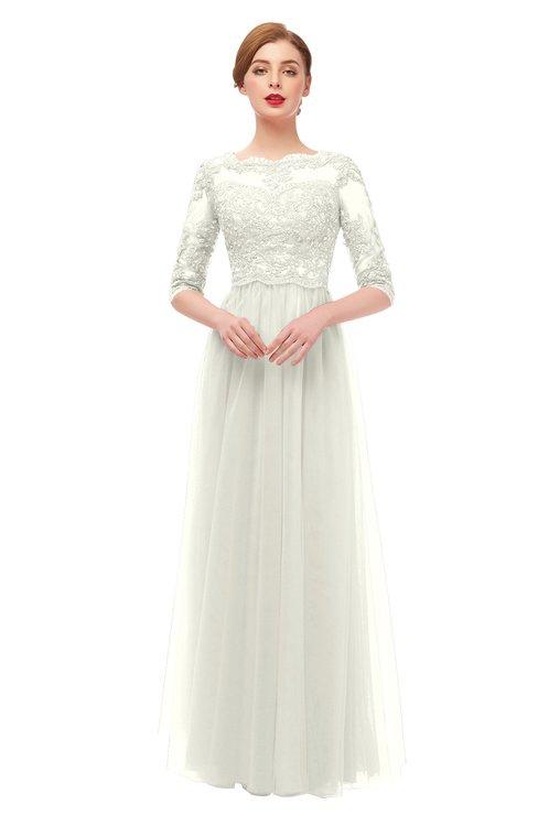 ColsBM Billie Cream Bridesmaid Dresses Scalloped Edge Ruching Zip up Half Length Sleeve Mature A-line