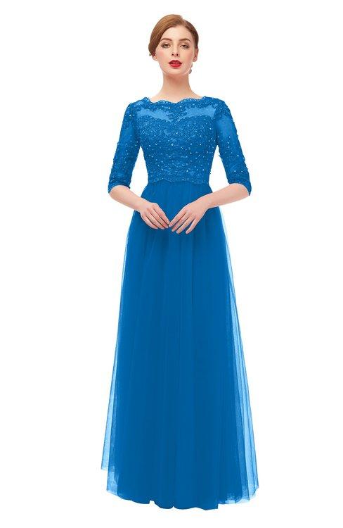 ColsBM Billie Directoire Blue Bridesmaid Dresses Scalloped Edge Ruching Zip up Half Length Sleeve Mature A-line