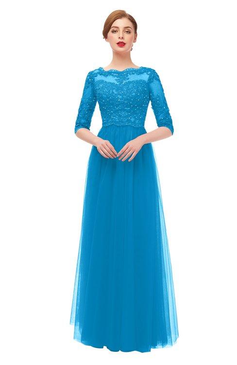 ColsBM Billie Dresden Blue Bridesmaid Dresses Scalloped Edge Ruching Zip up Half Length Sleeve Mature A-line