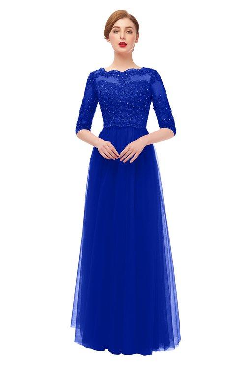 ColsBM Billie Electric Blue Bridesmaid Dresses Scalloped Edge Ruching Zip up Half Length Sleeve Mature A-line