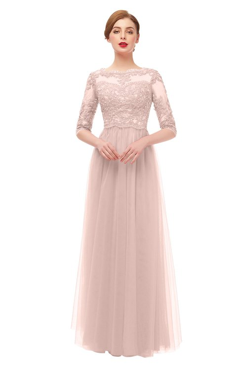 ColsBM Billie Evening Sand Bridesmaid Dresses Scalloped Edge Ruching Zip up Half Length Sleeve Mature A-line