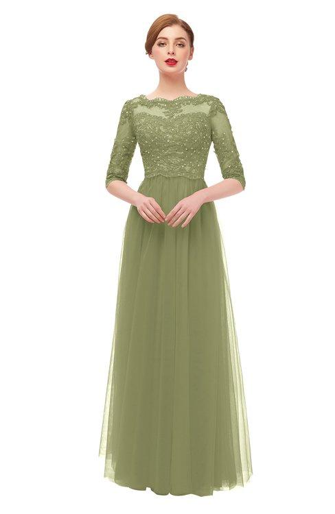 ColsBM Billie Fern Green Bridesmaid Dresses Scalloped Edge Ruching Zip up Half Length Sleeve Mature A-line