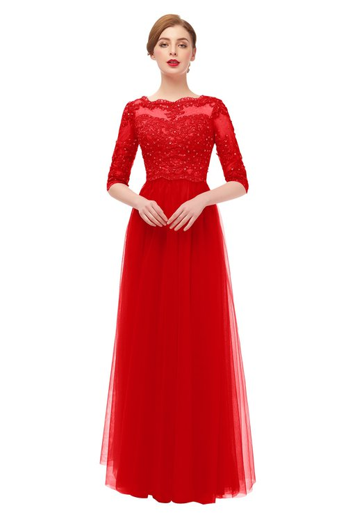 ColsBM Billie Fiery Red Bridesmaid Dresses Scalloped Edge Ruching Zip up Half Length Sleeve Mature A-line