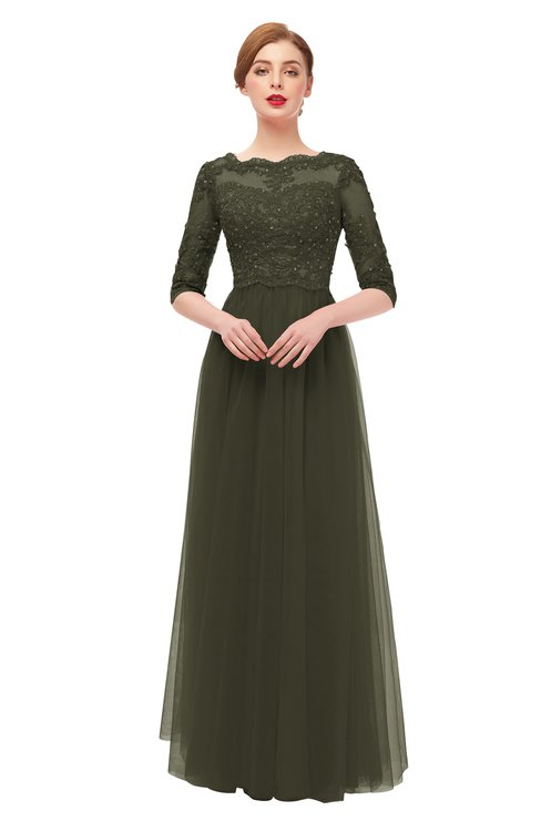 ColsBM Billie Forest Night Bridesmaid Dresses Scalloped Edge Ruching Zip up Half Length Sleeve Mature A-line