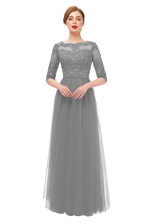 ColsBM Billie Frost Grey Bridesmaid Dresses Scalloped Edge Ruching Zip up Half Length Sleeve Mature A-line