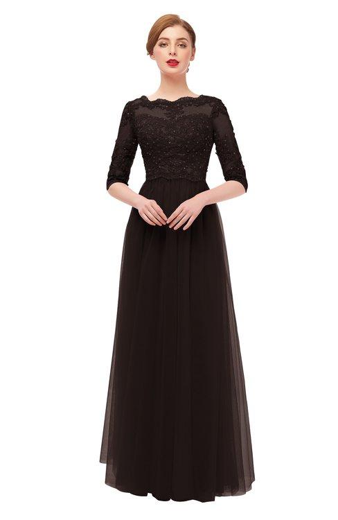 ColsBM Billie Fudge Brown Bridesmaid Dresses Scalloped Edge Ruching Zip up Half Length Sleeve Mature A-line