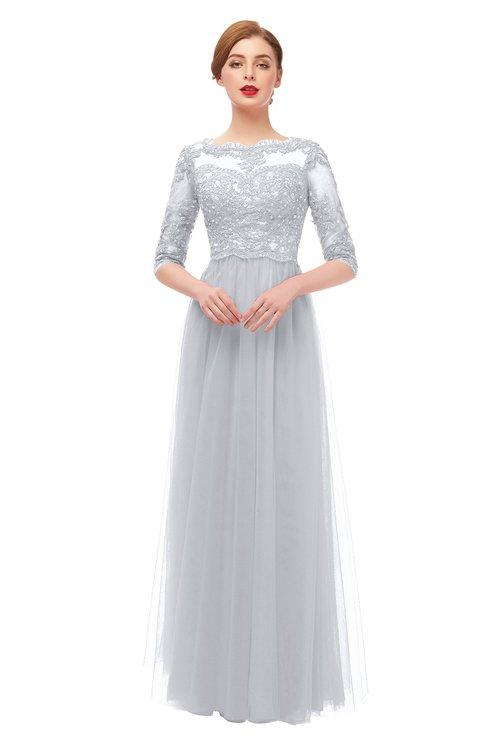 ColsBM Billie Glacier Gray Bridesmaid Dresses Scalloped Edge Ruching Zip up Half Length Sleeve Mature A-line