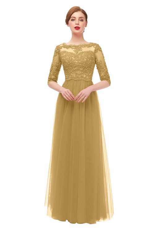ColsBM Billie Gold Bridesmaid Dresses Scalloped Edge Ruching Zip up Half Length Sleeve Mature A-line