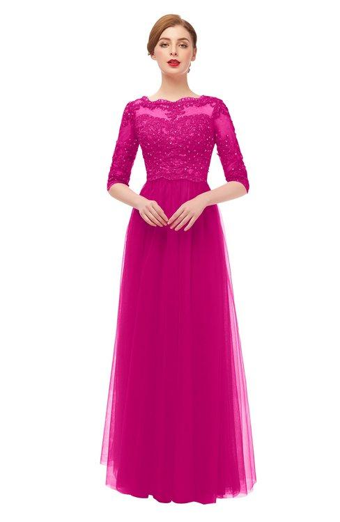 ColsBM Billie Hot Pink Bridesmaid Dresses Scalloped Edge Ruching Zip up Half Length Sleeve Mature A-line