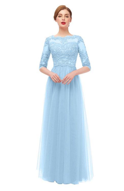 ColsBM Billie Ice Blue Bridesmaid Dresses Scalloped Edge Ruching Zip up Half Length Sleeve Mature A-line