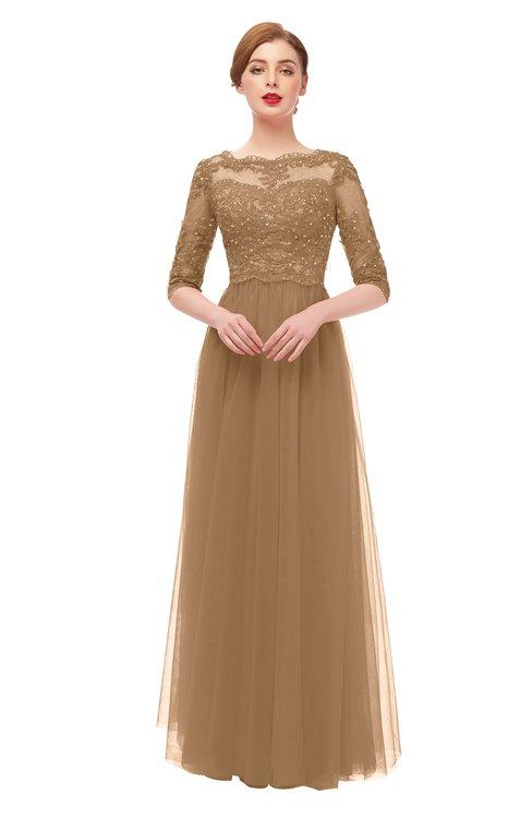 ColsBM Billie Indian Tan Bridesmaid Dresses Scalloped Edge Ruching Zip up Half Length Sleeve Mature A-line