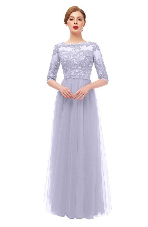 ColsBM Billie Lavender Blue Bridesmaid Dresses Scalloped Edge Ruching Zip up Half Length Sleeve Mature A-line