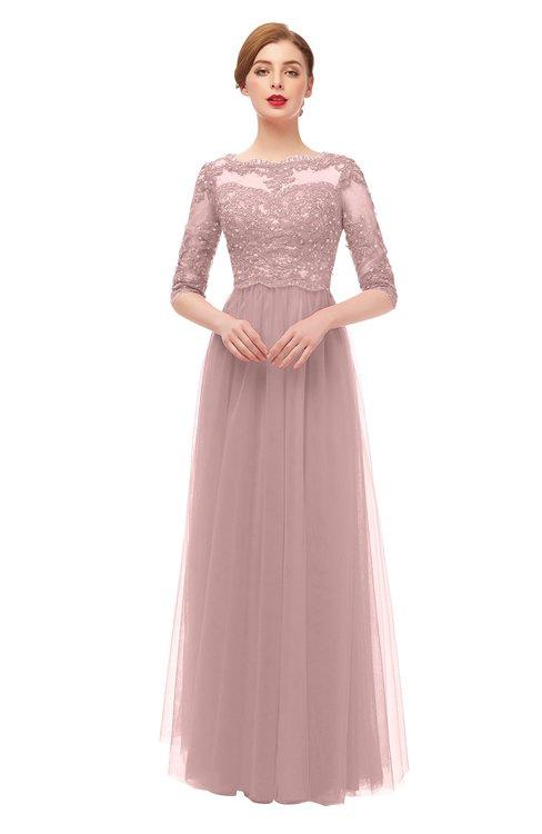 ColsBM Billie Light Coral Bridesmaid Dresses Scalloped Edge Ruching Zip up Half Length Sleeve Mature A-line