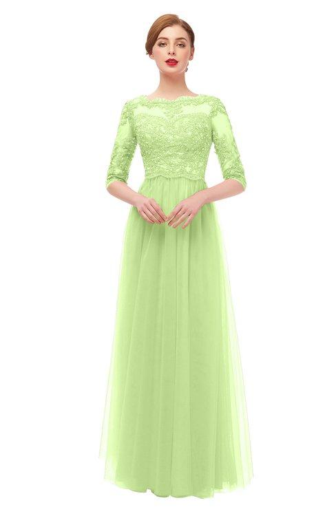 ColsBM Billie Lime Green Bridesmaid Dresses Scalloped Edge Ruching Zip up Half Length Sleeve Mature A-line