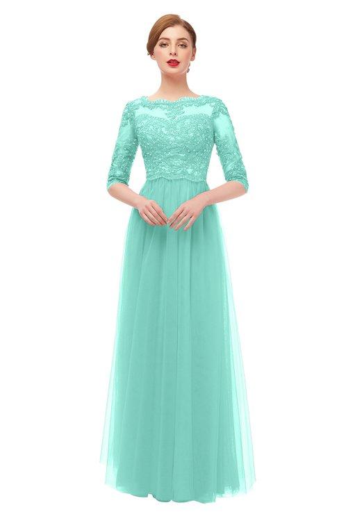 ColsBM Billie Mint Green Bridesmaid Dresses Scalloped Edge Ruching Zip up Half Length Sleeve Mature A-line