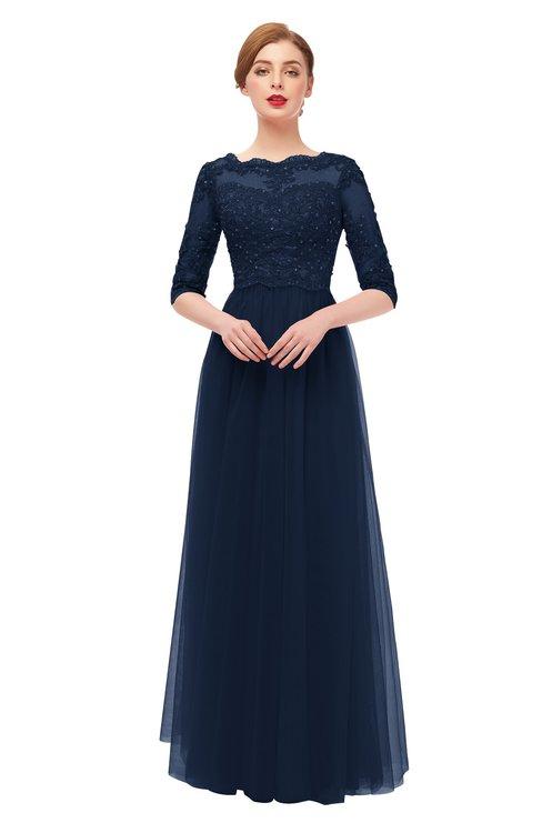ColsBM Billie Navy Blue Bridesmaid Dresses Scalloped Edge Ruching Zip up Half Length Sleeve Mature A-line