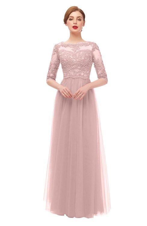 ColsBM Billie Nectar Pink Bridesmaid Dresses Scalloped Edge Ruching Zip up Half Length Sleeve Mature A-line