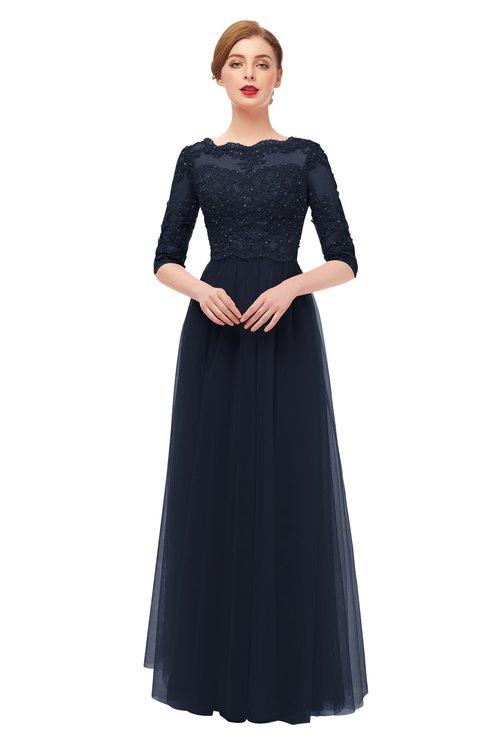 ColsBM Billie Night Sky Bridesmaid Dresses Scalloped Edge Ruching Zip up Half Length Sleeve Mature A-line