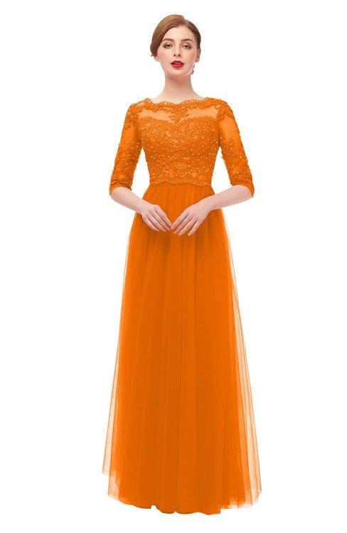 ColsBM Billie Orange Bridesmaid Dresses Scalloped Edge Ruching Zip up Half Length Sleeve Mature A-line