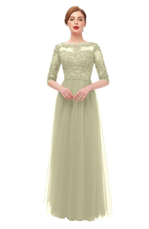 ColsBM Billie Pale Olive Bridesmaid Dresses Scalloped Edge Ruching Zip up Half Length Sleeve Mature A-line