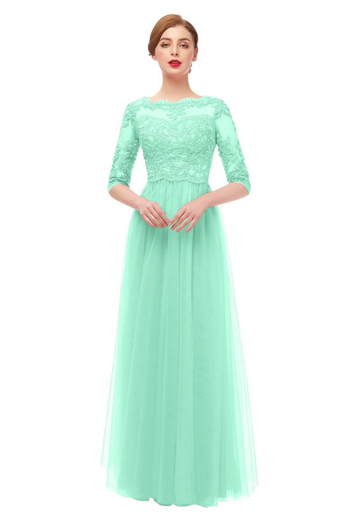 ColsBM Billie Pastel Green Bridesmaid Dresses Scalloped Edge Ruching Zip up Half Length Sleeve Mature A-line