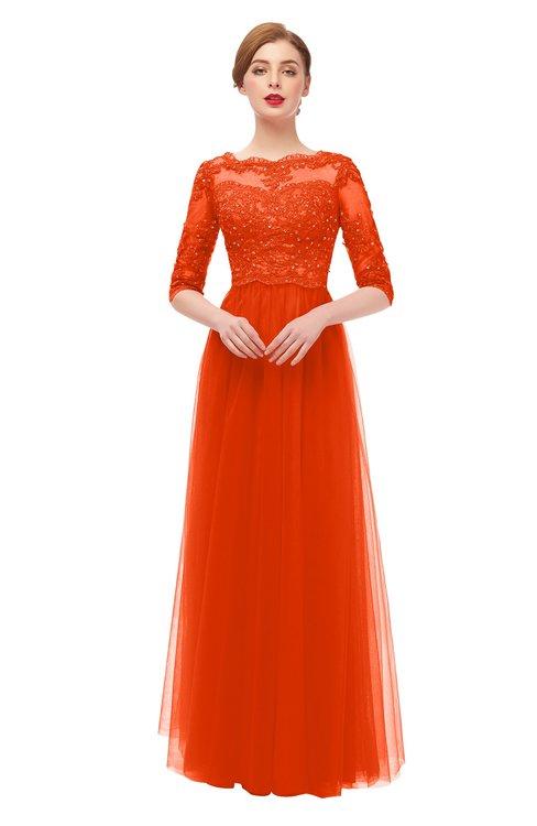 ColsBM Billie Persimmon Bridesmaid Dresses Scalloped Edge Ruching Zip up Half Length Sleeve Mature A-line