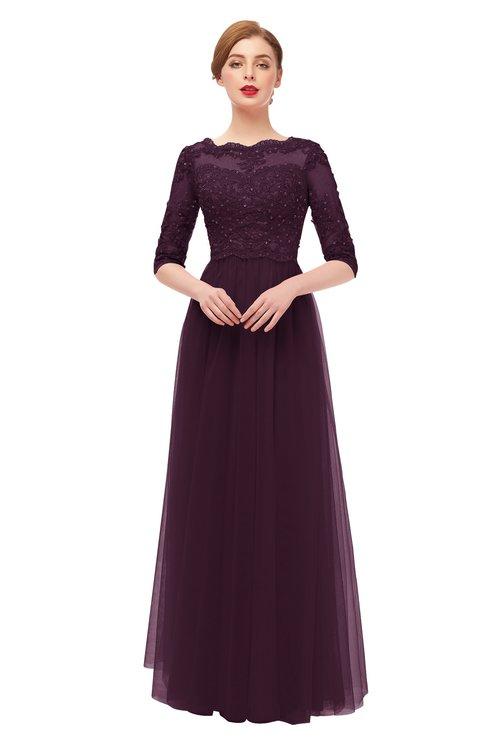 ColsBM Billie Plum Bridesmaid Dresses Scalloped Edge Ruching Zip up Half Length Sleeve Mature A-line