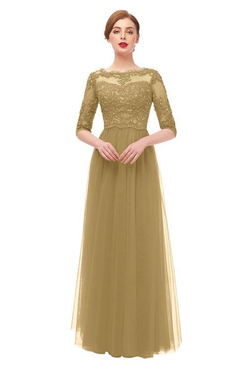 ColsBM Billie Prairie Sand Bridesmaid Dresses Scalloped Edge Ruching Zip up Half Length Sleeve Mature A-line