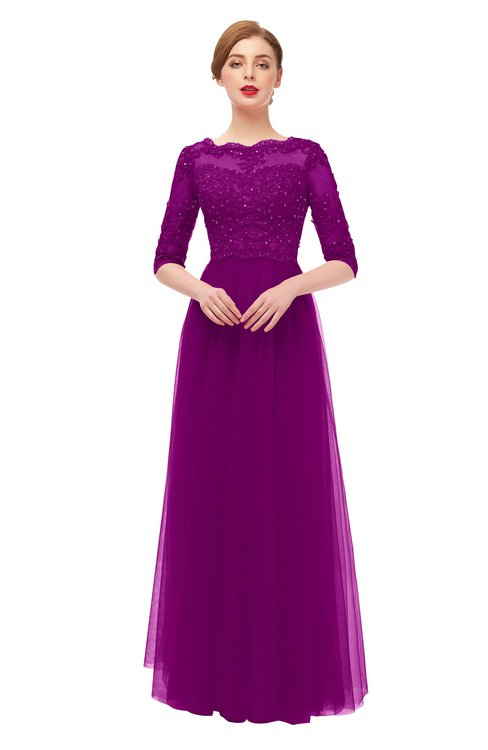 ColsBM Billie Purple Wine Bridesmaid Dresses Scalloped Edge Ruching Zip up Half Length Sleeve Mature A-line