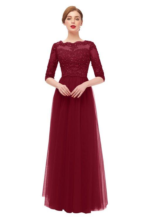 ColsBM Billie Rhubarb Bridesmaid Dresses Scalloped Edge Ruching Zip up Half Length Sleeve Mature A-line