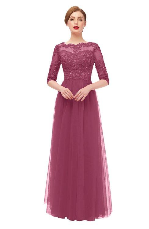 ColsBM Billie Rose Wine Bridesmaid Dresses Scalloped Edge Ruching Zip up Half Length Sleeve Mature A-line