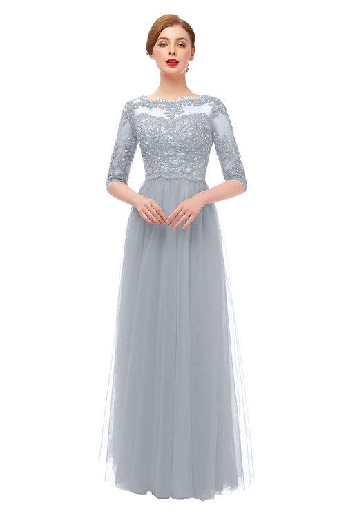 ColsBM Billie Silver Bridesmaid Dresses Scalloped Edge Ruching Zip up Half Length Sleeve Mature A-line