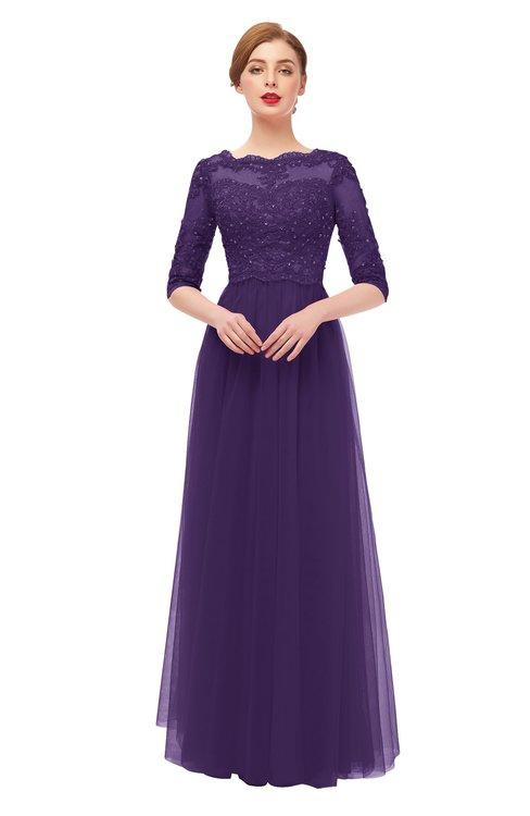 ColsBM Billie Violet Bridesmaid Dresses Scalloped Edge Ruching Zip up Half Length Sleeve Mature A-line